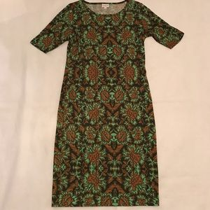 LuLaRoe Julia green brown dress fitted slimming Lg